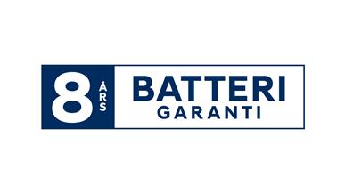 8 års garanti på högspänningsbatteriet